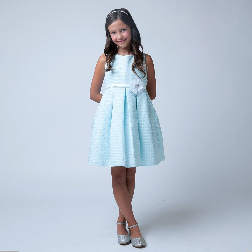 a09182fb26ea57 Shop Sweet Kids Little Girls Sky Blue Flower Special Occasion Easter Dress  2-6 - Free Shipping Today - Overstock - 18164894