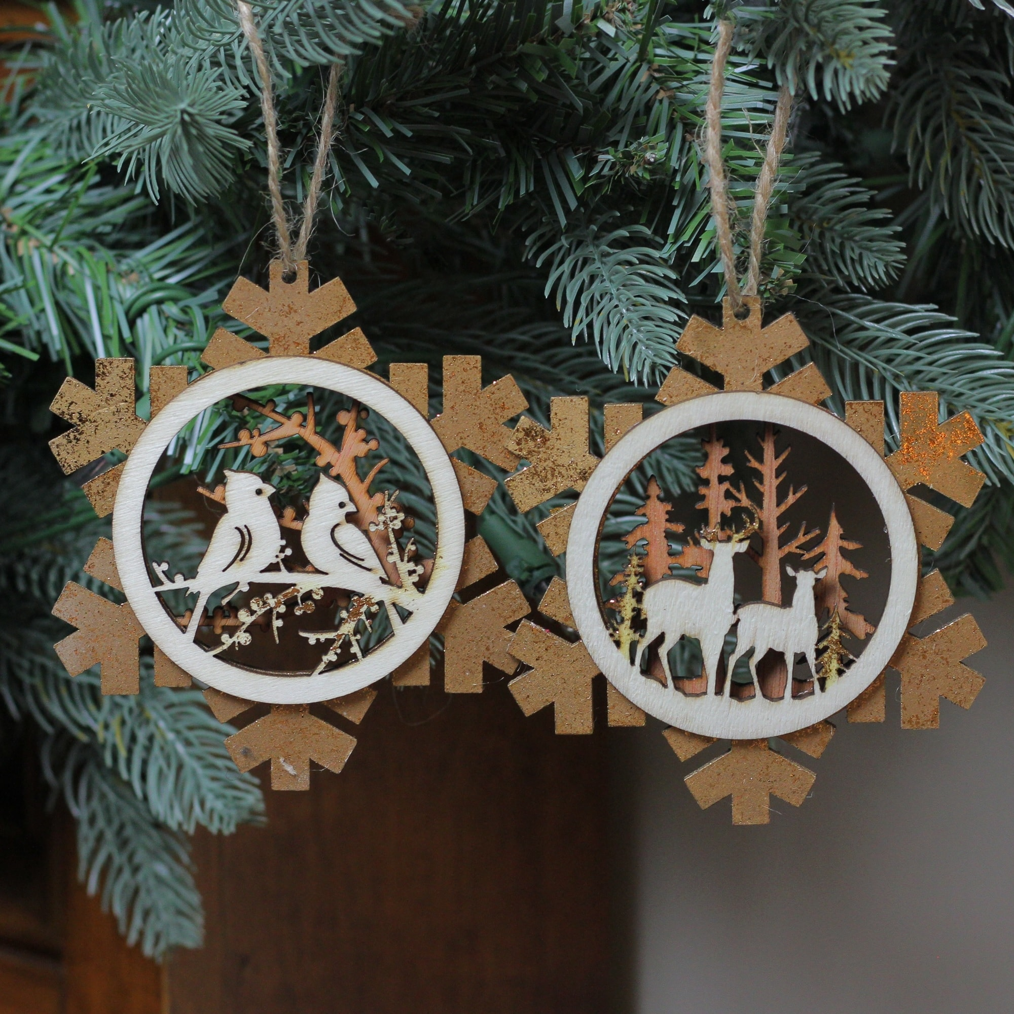 shop set of 2 brown laser cut rustic woodland animal snowflake christmas ornaments 4 free shipping on orders over 45 overstockcom 22974096