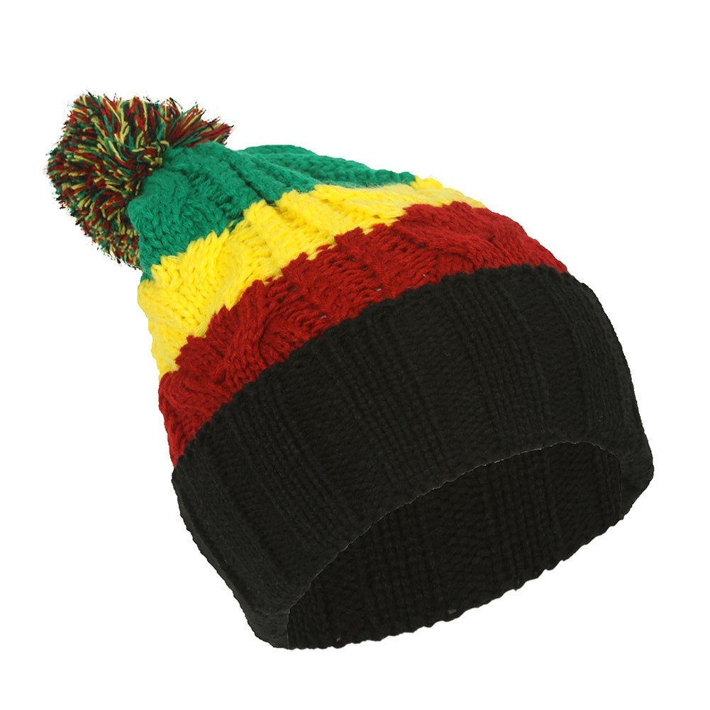 Shop TopHeadwear Rasta Color Block Crochet Knit Pom Cuff Beanie - Free  Shipping On Orders Over  45 - Overstock.com - 16947815 994c078243b4