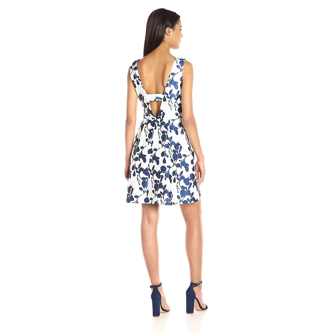 257ab6c5cde Shop Betsey Johnson Floral Jacquard V-Neck Fit   Flare Cocktail Day Dress  Ivory Navy - Free Shipping Today - Overstock - 18683581
