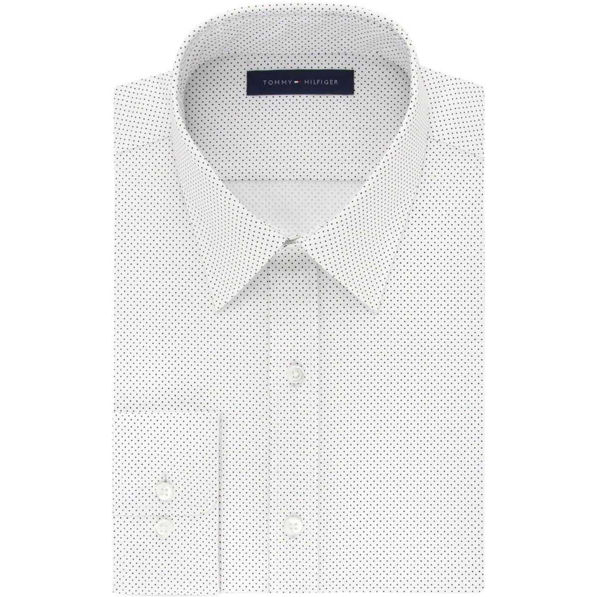 Shop Tommy Hilfiger Mens Dress Shirt Athletic Fit Pindot Free
