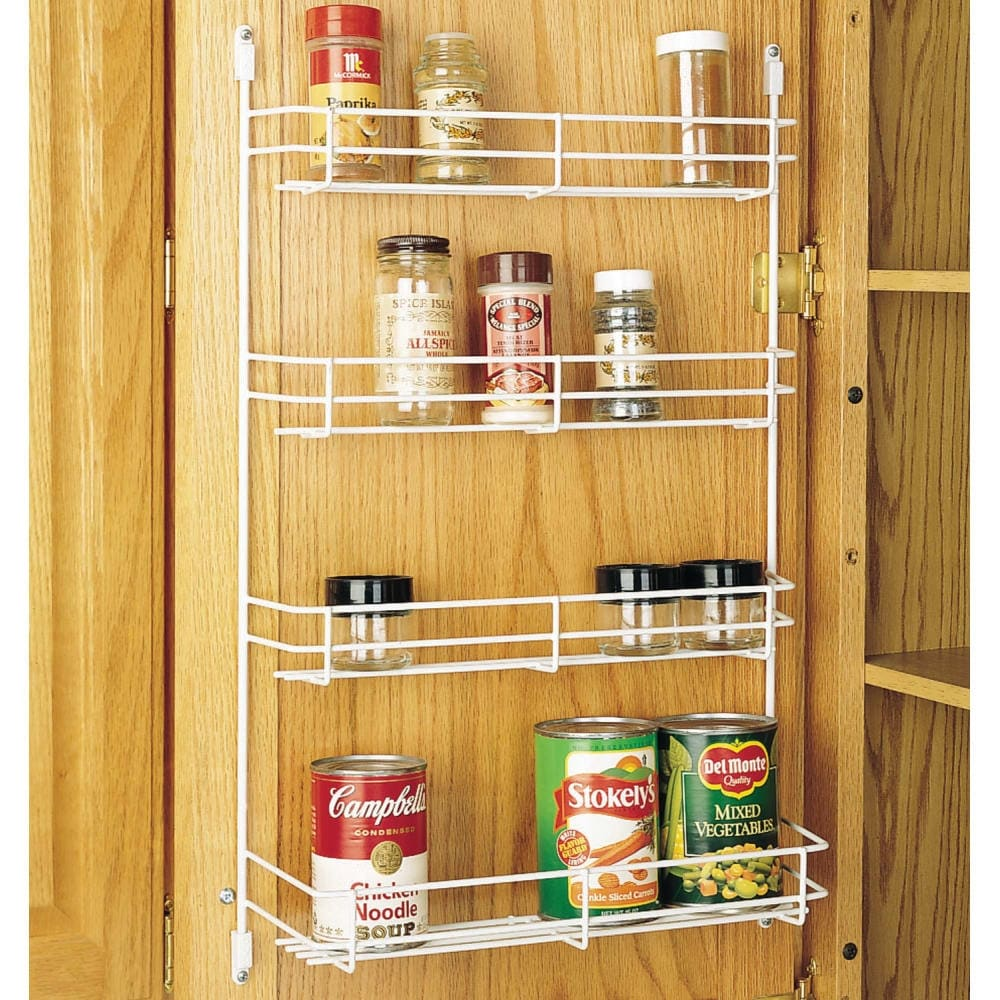 Shop rev a shelf 565 14 52 565 series 13 625 width door mount spice rack white free shipping on orders over 45 overstock com 17176595