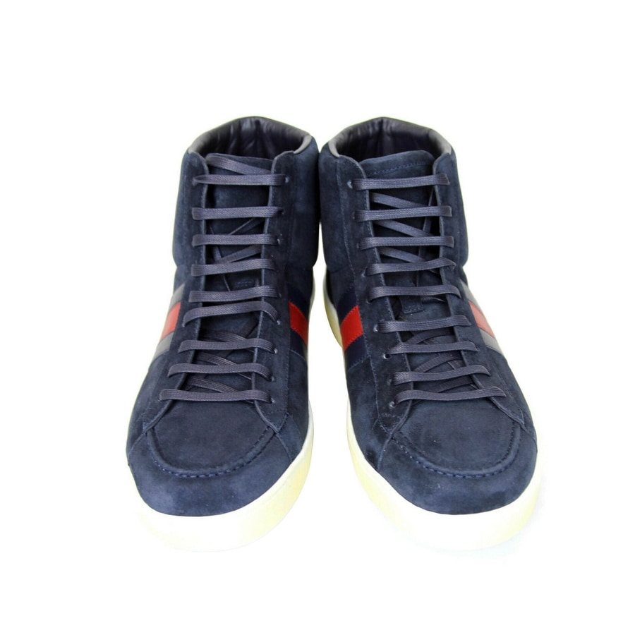 12c48c6a2e0 Gucci Men's Navy Suede Brb Leather Web Detail High-top Sneakers 337221  (12.5 G / 13 US) - 12.5 G / 13 US