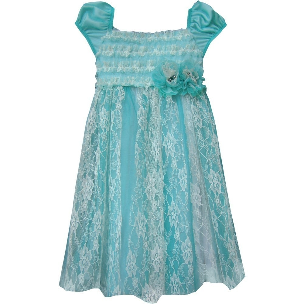 ae5b1d25c00 Shop Isobella   Chloe Baby Girls Teal Seaside Escape Lace Overlay Party  Dress 12-24M - Free Shipping On Orders Over  45 - Overstock.com - 18170496