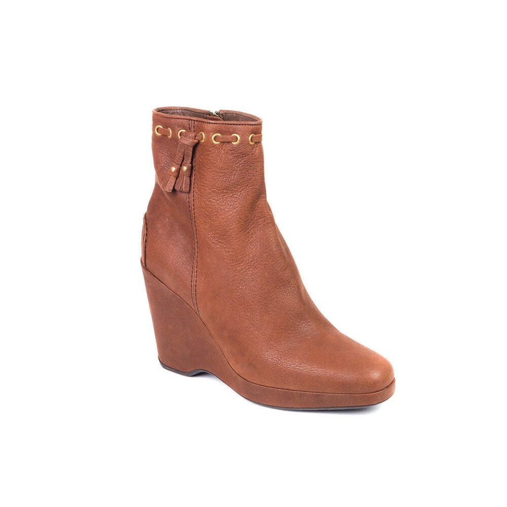 751fefe4fc3 Car Shoe By Prada Brown Leather Wedge Ankle Boots~RTL$695