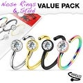 4 Pcs Value Pack of Assorted Titanium IP with Clear CZ 316L Surgical Steel Nose Ring