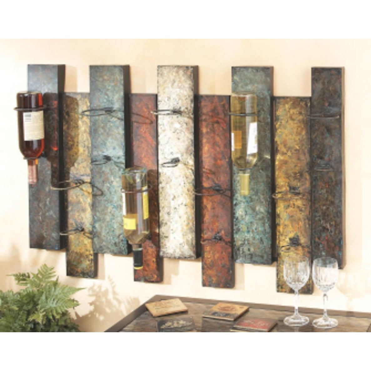Shop 41 Contemporary Offset Panel Wall Wine Bottle Holder Multi