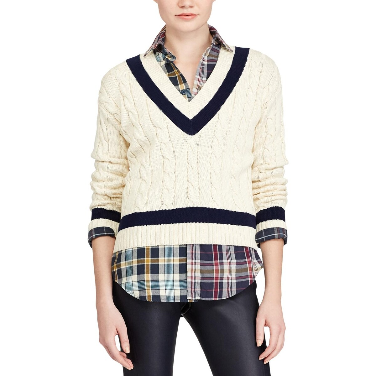 a644f3f99a06 Shop Polo Ralph Lauren Womens V-Neck Sweater Winter Cable Knit - xL ...