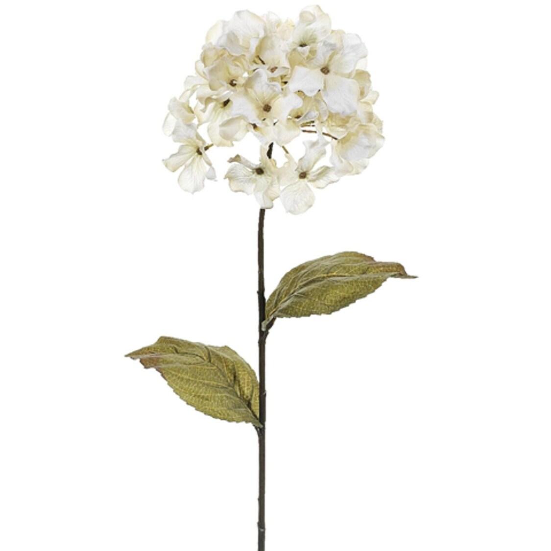 Club Pack Of 12 Artificial Beige Hydrangea Silk Flower Sprays 26