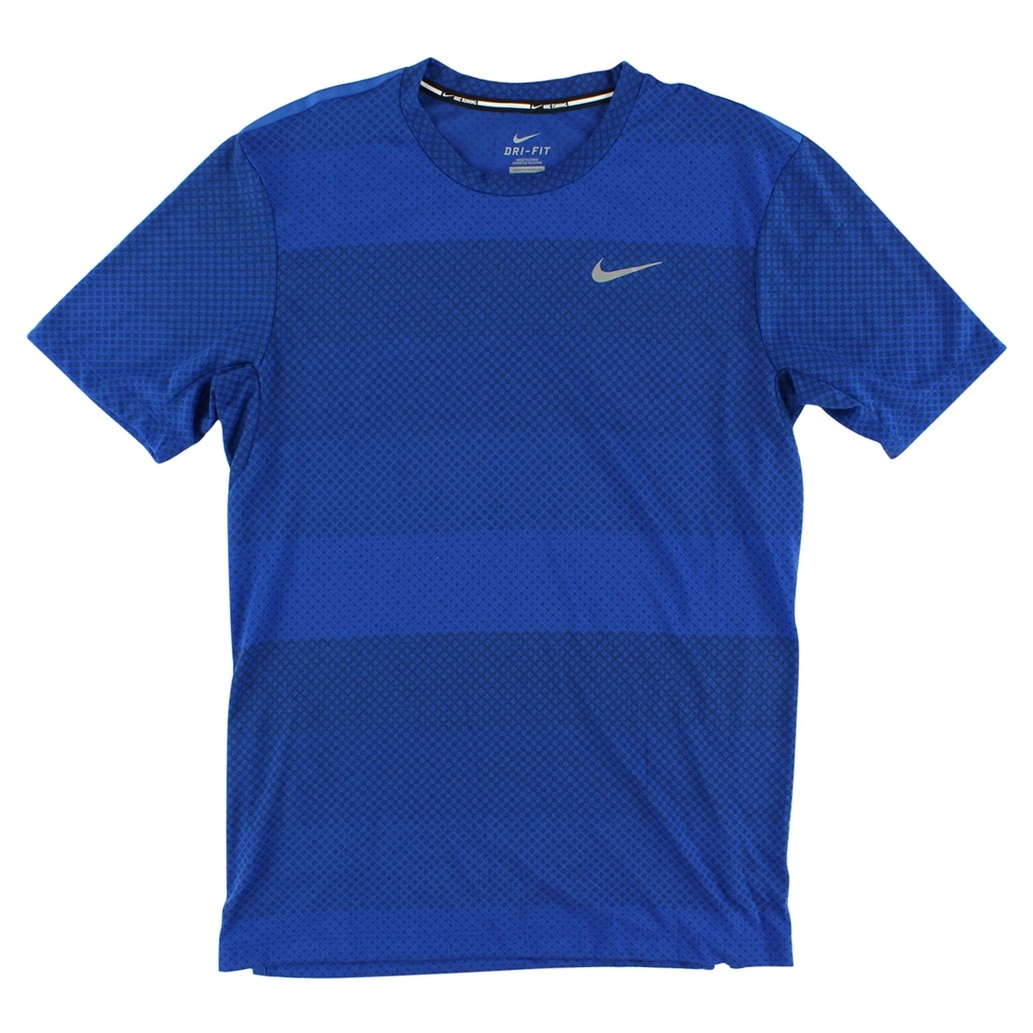 743f9f413 Shop Nike Mens Dri Fit Cool Stripe Tailwind Running Shirt Blue - Blue/Black  - Free Shipping On Orders Over $45 - Overstock - 22613921