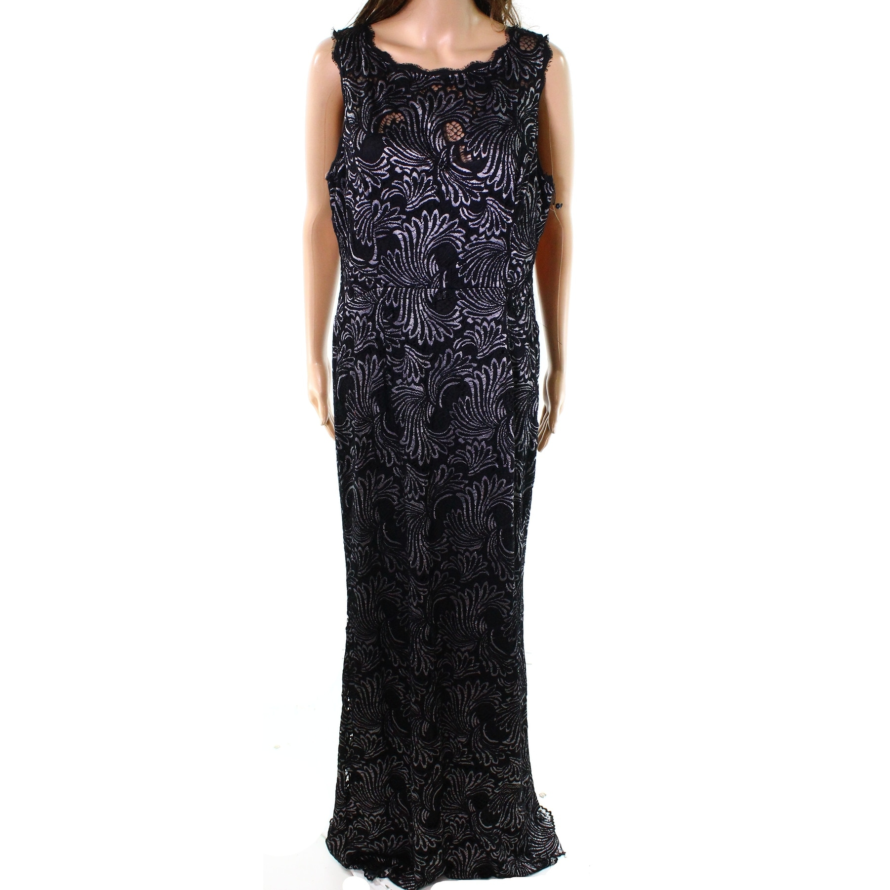 e0841ed6da4 Shop Adrianna Papell Black Womens Size 14 Lace Sleeveless Gown Dress - Free  Shipping Today - Overstock.com - 26986251