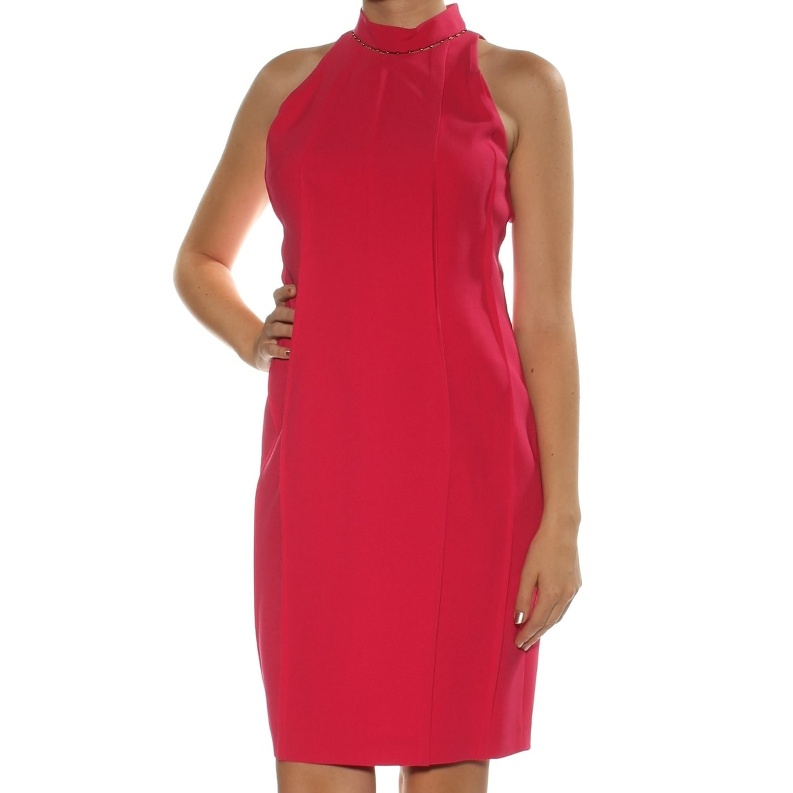04a0afcc03c9 Shop ELIE TAHARI Womens Pink Beaded Sleeveless Jewel Neck Knee Length  Sheath Dress Size: 10 - Free Shipping On Orders Over $45 - Overstock -  24083522