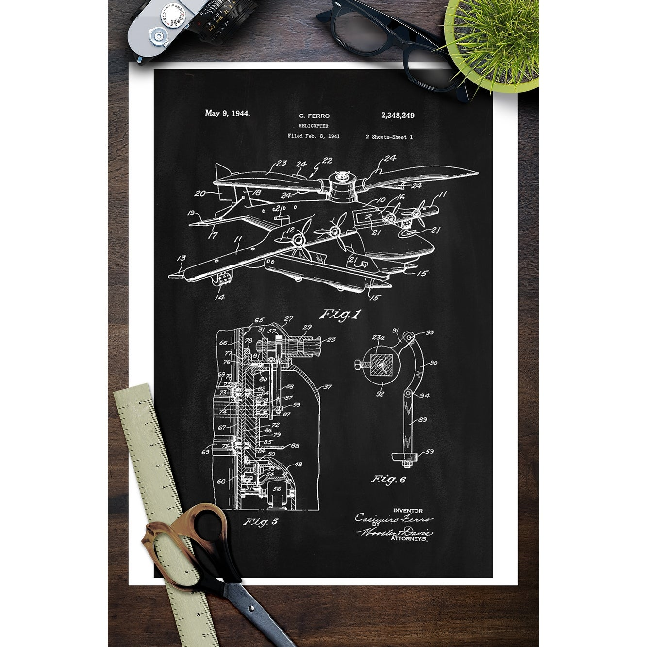 Blackboard Patent - Helicopter - Lantern Press Artwork (Art Print -  Multiple Sizes Available) - 9 x 12 Art Print