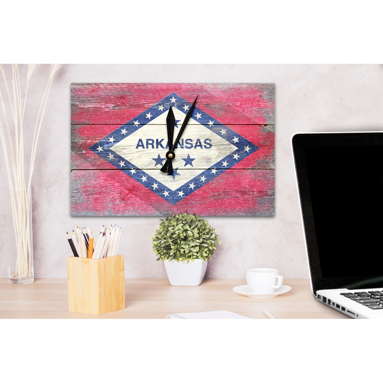 Shop Arkansas   Rustic State Flag   LP Artwork (Acrylic Wall Clock)    Acrylic Wall Clock   Free Shipping On Orders Over $45   Overstock.com    13584278