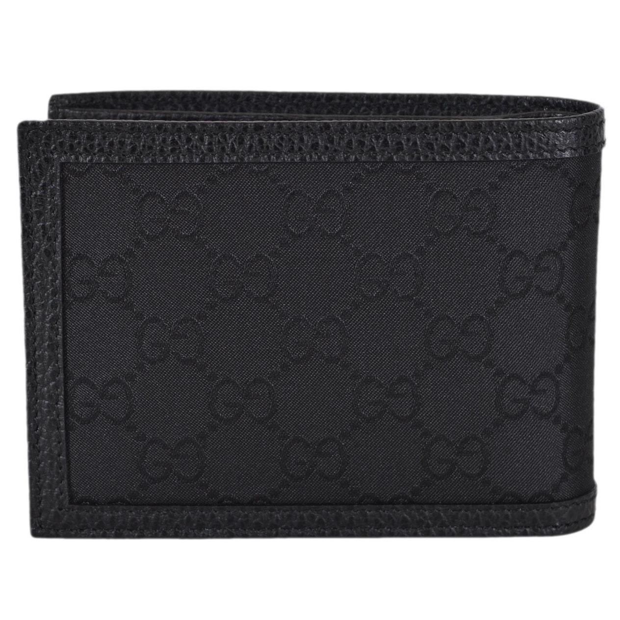 645f23fc40666b Gucci 333042 Black Nylon GG Guccissima Web Bifold Wallet W/Removable ID