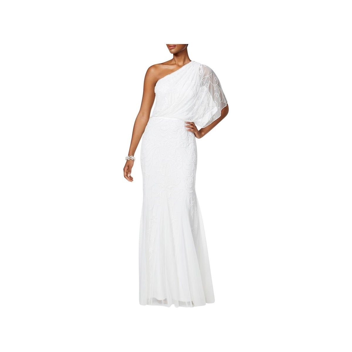 Shop Adrianna Papell Womens Evening Dress One Shoulder Full-Length ...