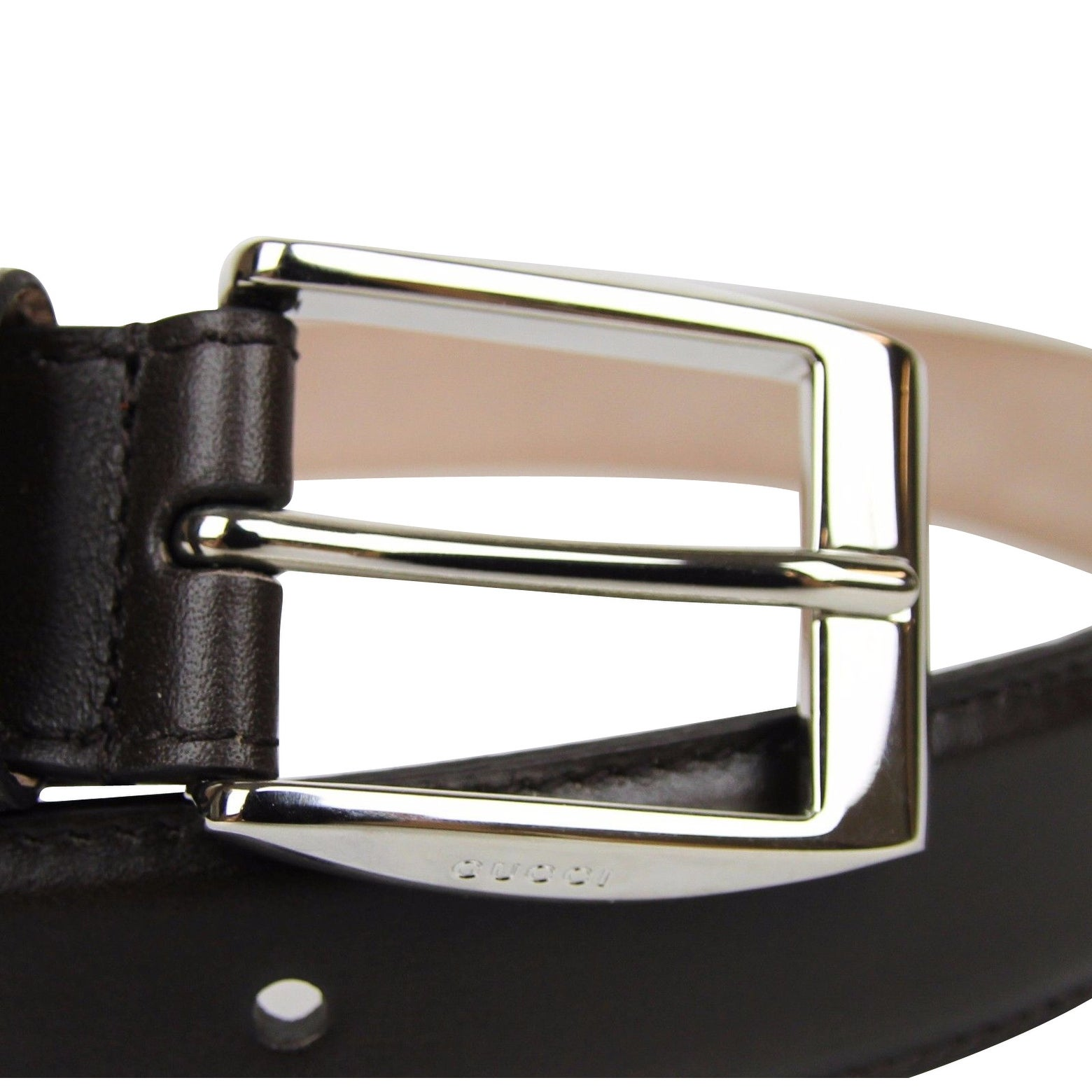 848ecb66bdd Shop New Gucci Men s Classic Dark Brown Leather Belt with Square Buckle  336831 2140 - Free Shipping Today - Overstock - 25452917