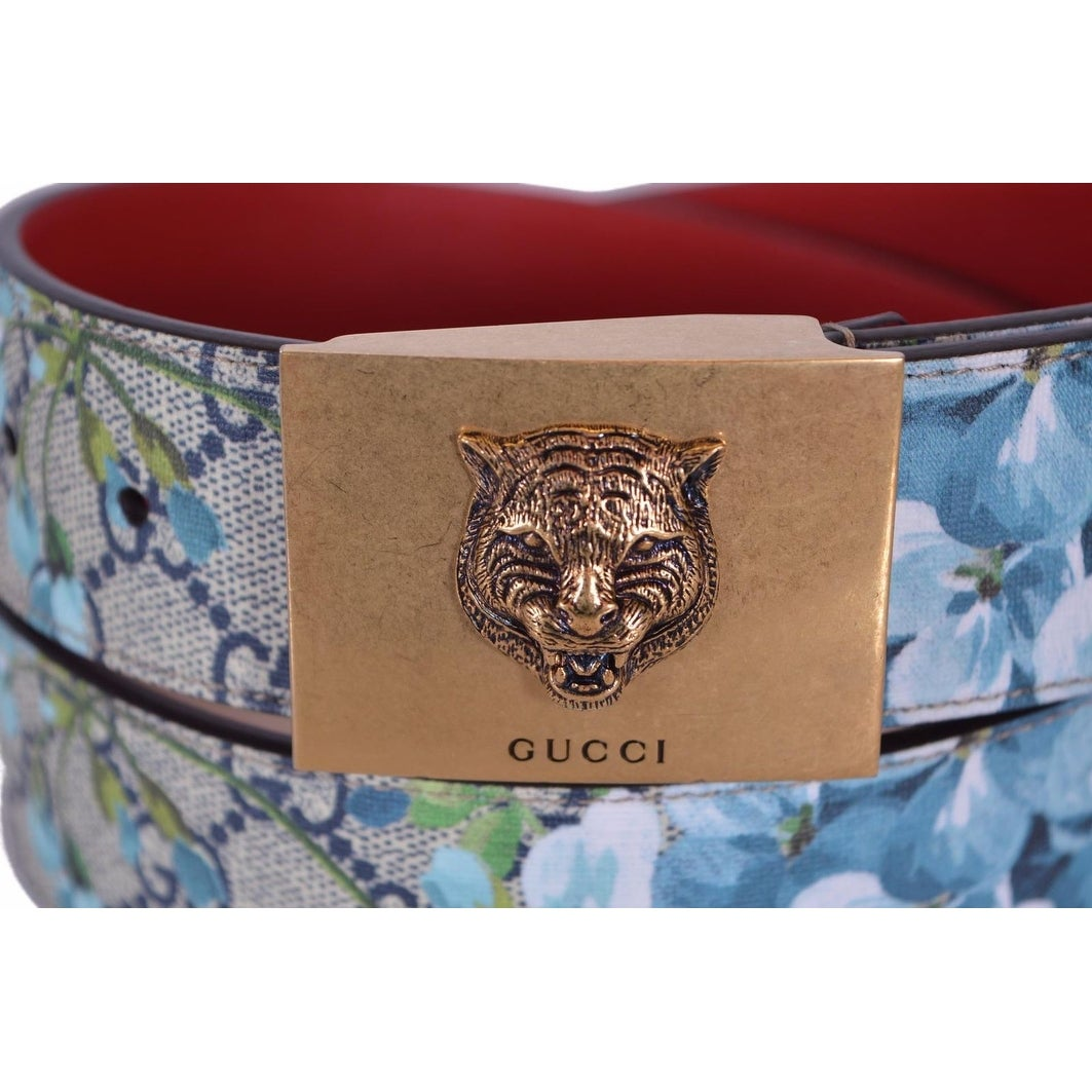 168b077b9c8 Shop New Gucci Women s 434559 Blue GG Blooms Feline Plaque Buckle Belt 38  95 - Ships To Canada - Overstock - 18945336