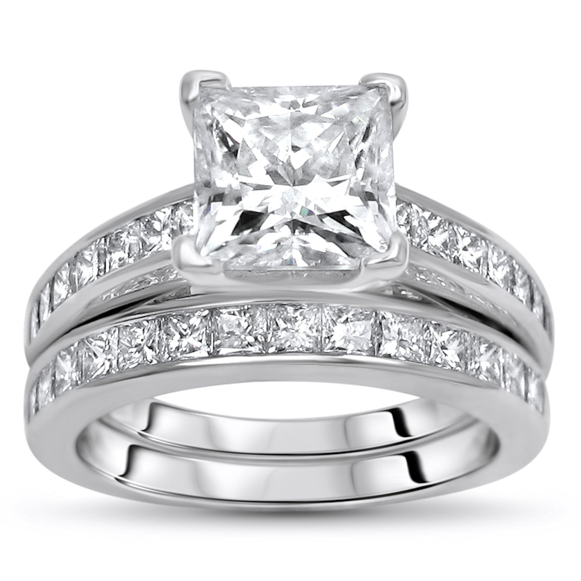 14k White Gold 2 0ct Princess Cut Moissanite And 1ct Princess Cut Diamond Engagement Ring Set On Sale Overstock 31525277