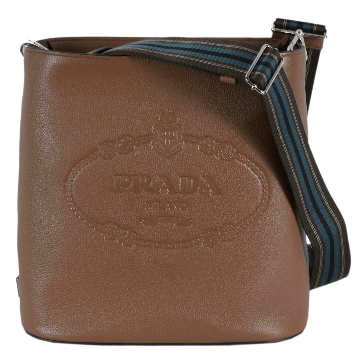 19edb7b43b0c Prada 1BE023 Vitello Secchiello Tan Leather Embossed Logo Crossbody Purse -  Cannella
