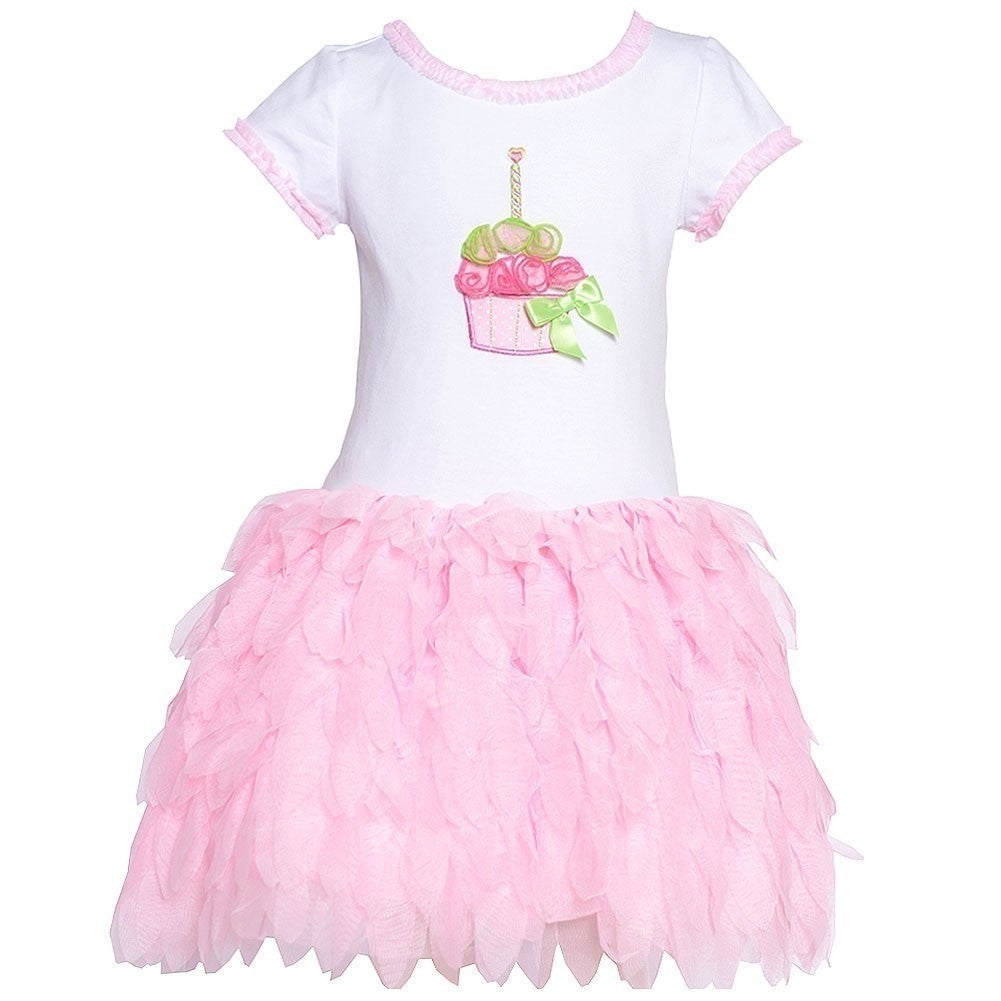 1db63c3dbc3c Shop Bonnie Jean Little Girls Pink Cupcake Applique Ruffled Birthday Dress  2-4T - Free Shipping On Orders Over $45 - Overstock - 18168046