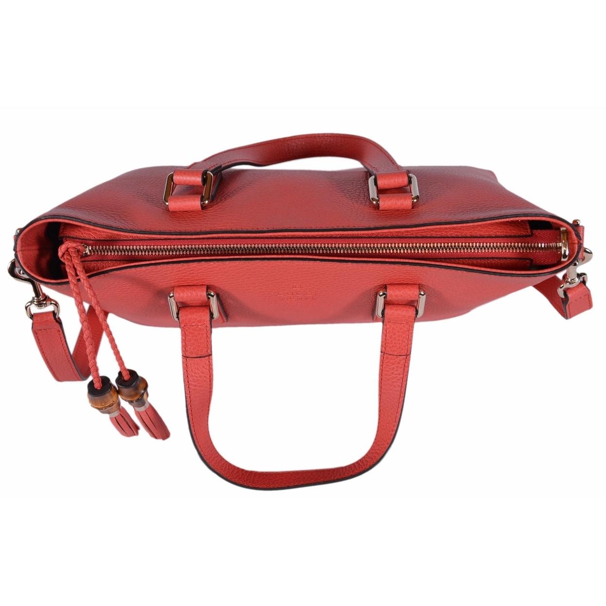 d7f2c2baba3 Shop Gucci 365346 Medium Coral Red Leather Bamboo Tassel Crossbody Handbag  Purse - sporting red - 14.5