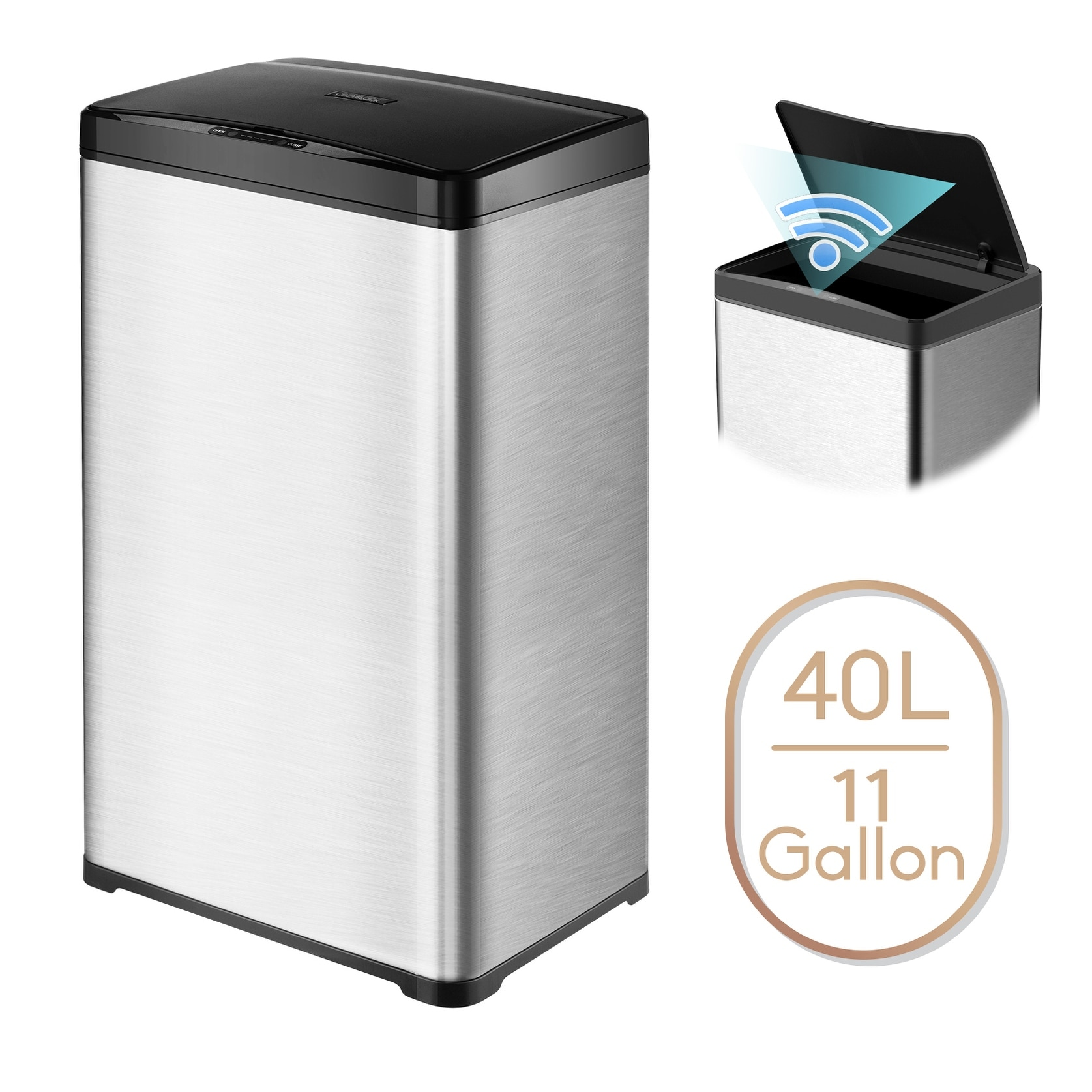 11 Gallon Automatic Trash Can Stainless Steel Touchless Motion Sensor Bin Soft Close Lid 40l Led Timer Under Kitchen Island Overstock 31498141