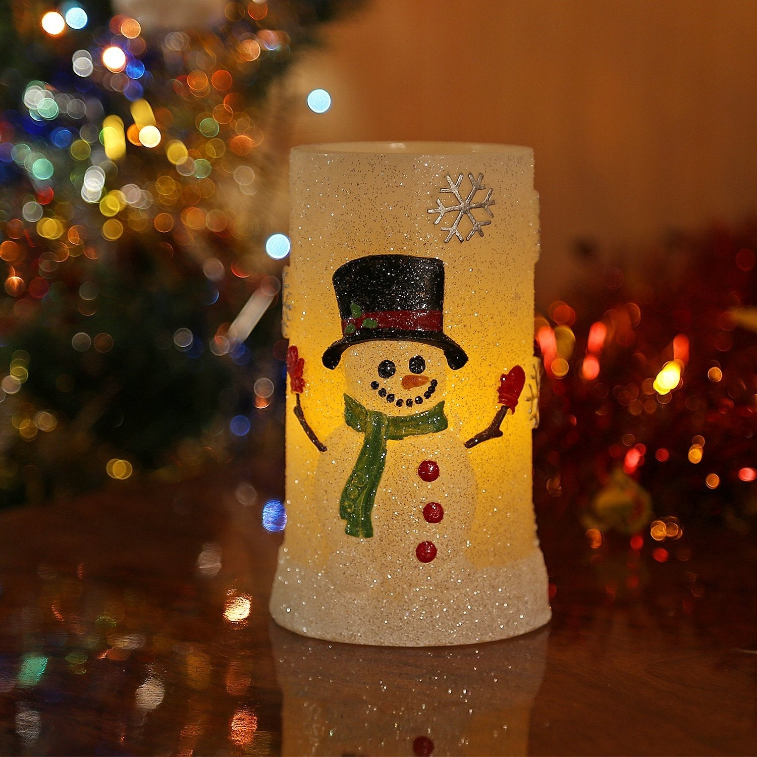 shop snowman flameless led candles with timer battery operated candles for holiday decorations and gift on sale free shipping on orders over 45 - Christmas Decorations Battery Operated Candles