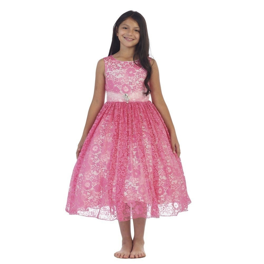 Girls Fuchsia Lace Overlay Rhinestone Brooch Junior Bridesmaid Dress ...