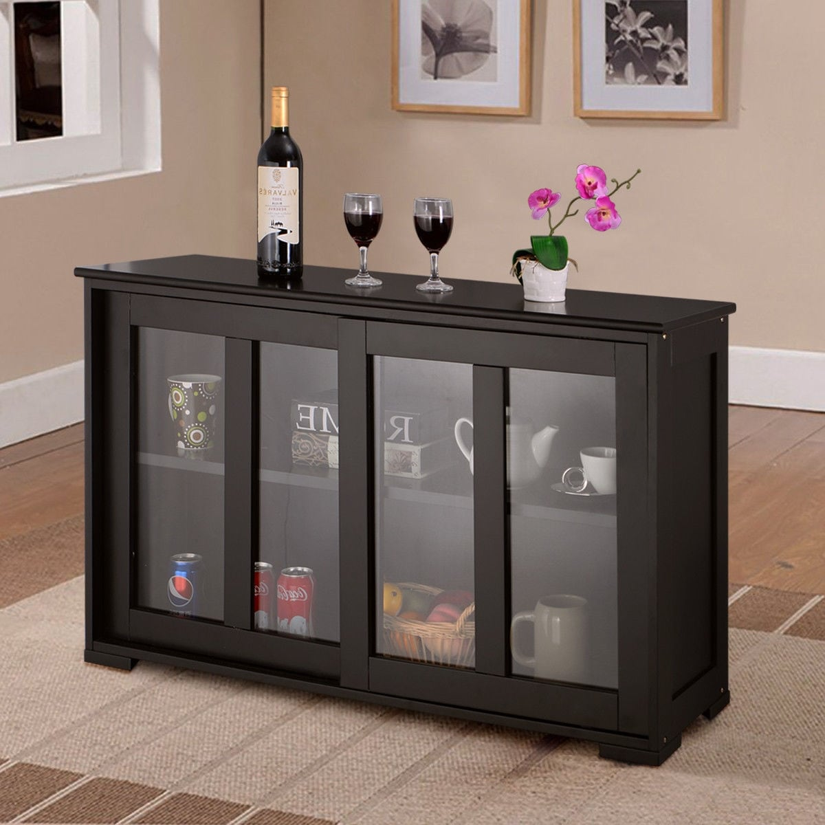 Shop Costway Storage Cabinet Sideboard Buffet Cupboard Glass Sliding
