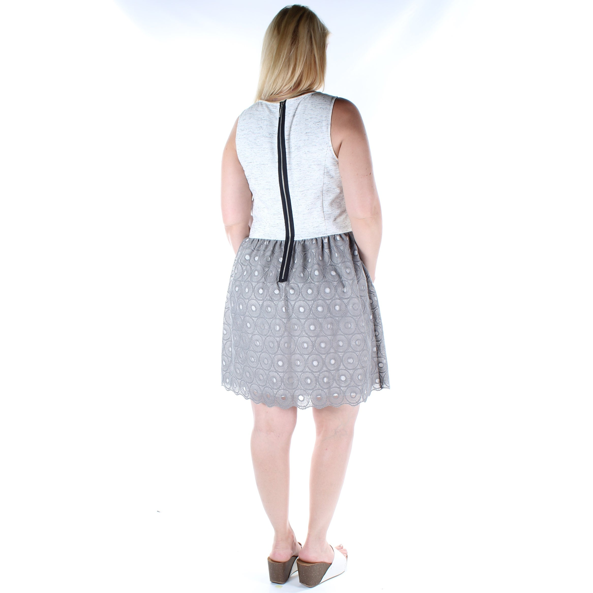 f726f48f3b832 Shop KENSIE Womens Gray Eyelet Sleeveless Jewel Neck Above The Knee Dress  Size  L - On Sale - Free Shipping On Orders Over  45 - Overstock - 21237411
