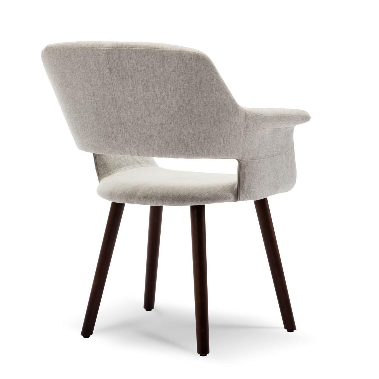Belleze modern accent chair fabric armrest wood legs gray