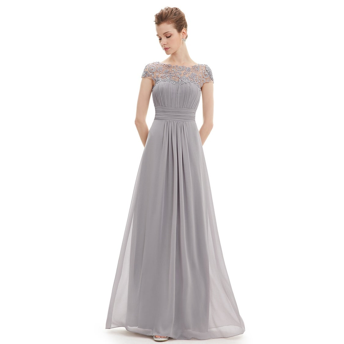 bfdd7e24098ae Shop Ever-Pretty Womens Cap Sleeve Lace Neckline Ruched Bust Evening  Dresses 09993 - Ships To Canada - Overstock - 25615372