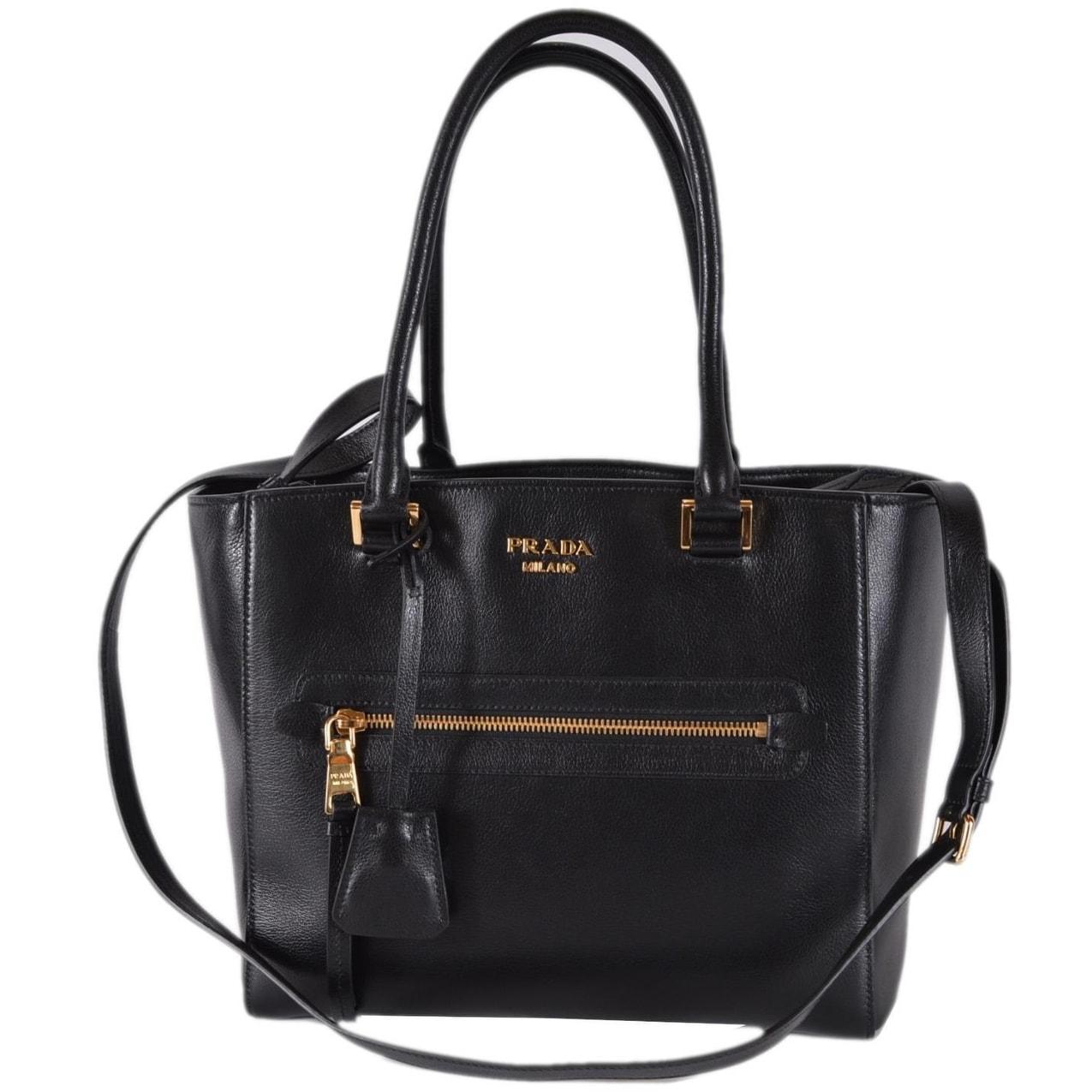 Shop Prada 1BG227 Black Glace Leather Medium Convertible Purse Handbag Tote  - Free Shipping Today - Overstock - 26441160