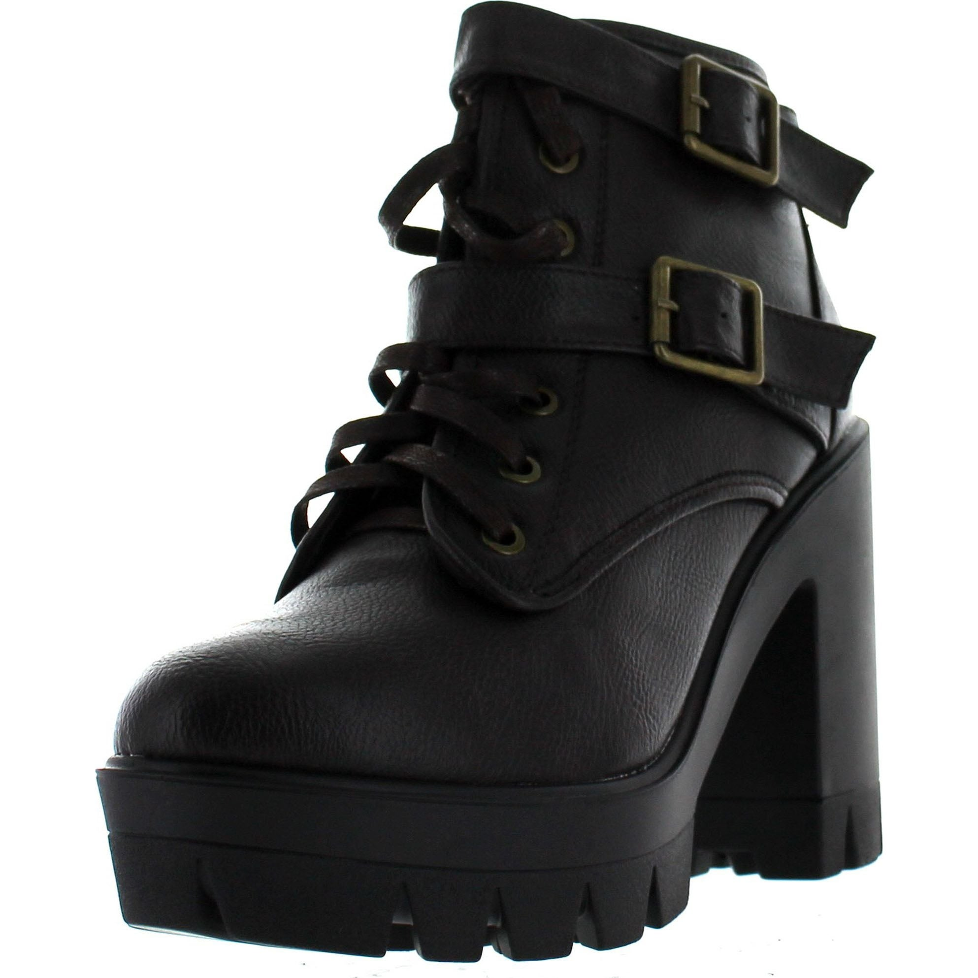 d68fe7129 Bamboo Womens Jonas-07 Double Buckle Lace Up Chunky Heel Industrial Bootie