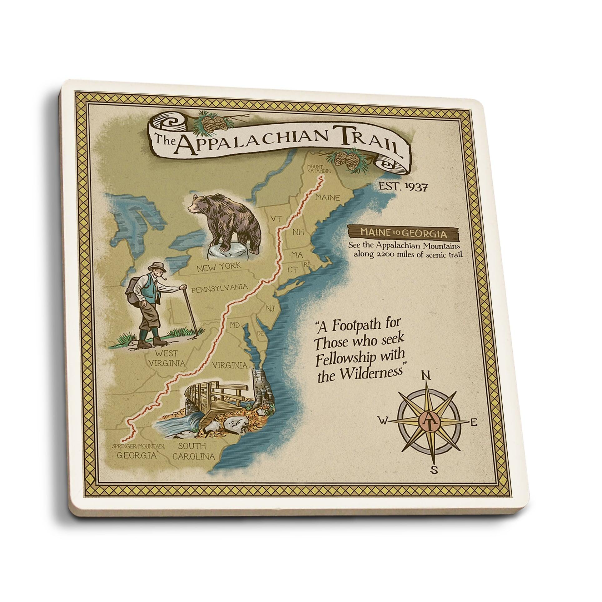 Shop Appalachian Trail Map - Lantern Press Artwork (Set of 4 Ceramic ...