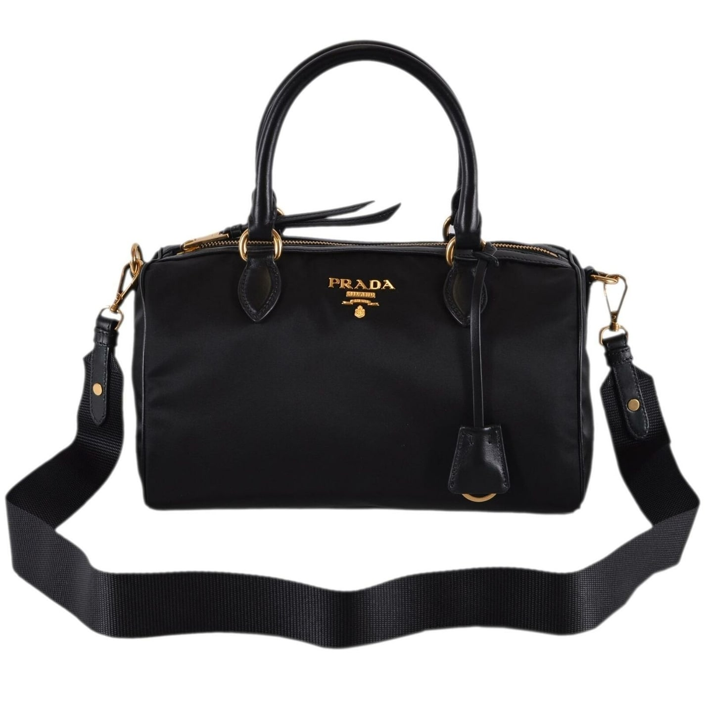 7b2808b8d9ab Shop Prada 1BB797 Black Nylon and Leather Tessuto Bauletto Satchel Purse  W/Strap - Free Shipping Today - Overstock - 27403263