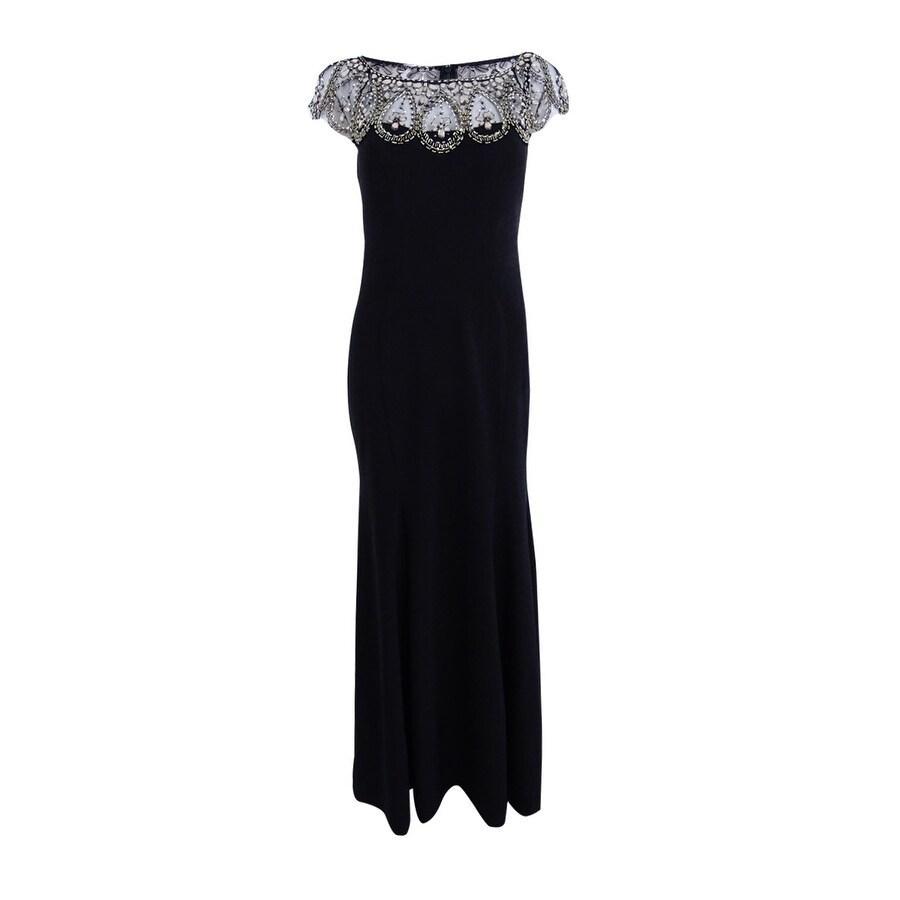 Shop Xscape Women\'s Petite Beaded Cap-Sleeve Gown - Black/gold - On ...