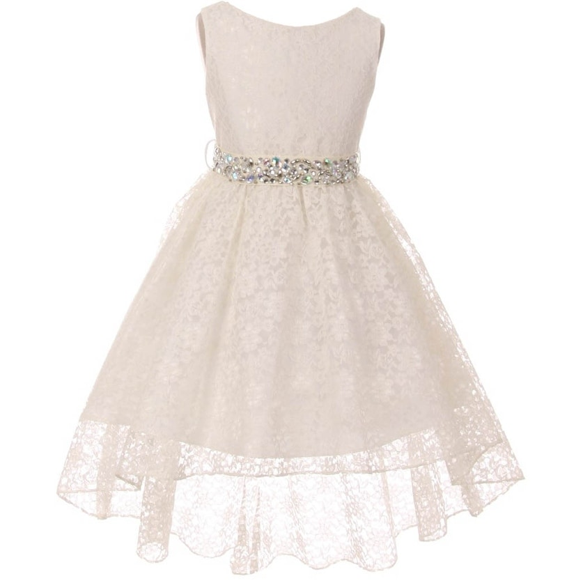 280d7c110 Shop BNY Corner Flower Girl Dress Lace Hi-Low with Rhinestone Belt Ivory -  Free Shipping On Orders Over $45 - Overstock - 16754099