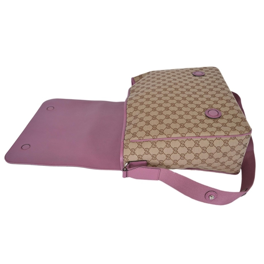 9cdb57108572 Shop Gucci 510340 Beige Pink Original Canvas GG Convertible Diaper Baby Bag  - Free Shipping Today - Overstock - 21380843