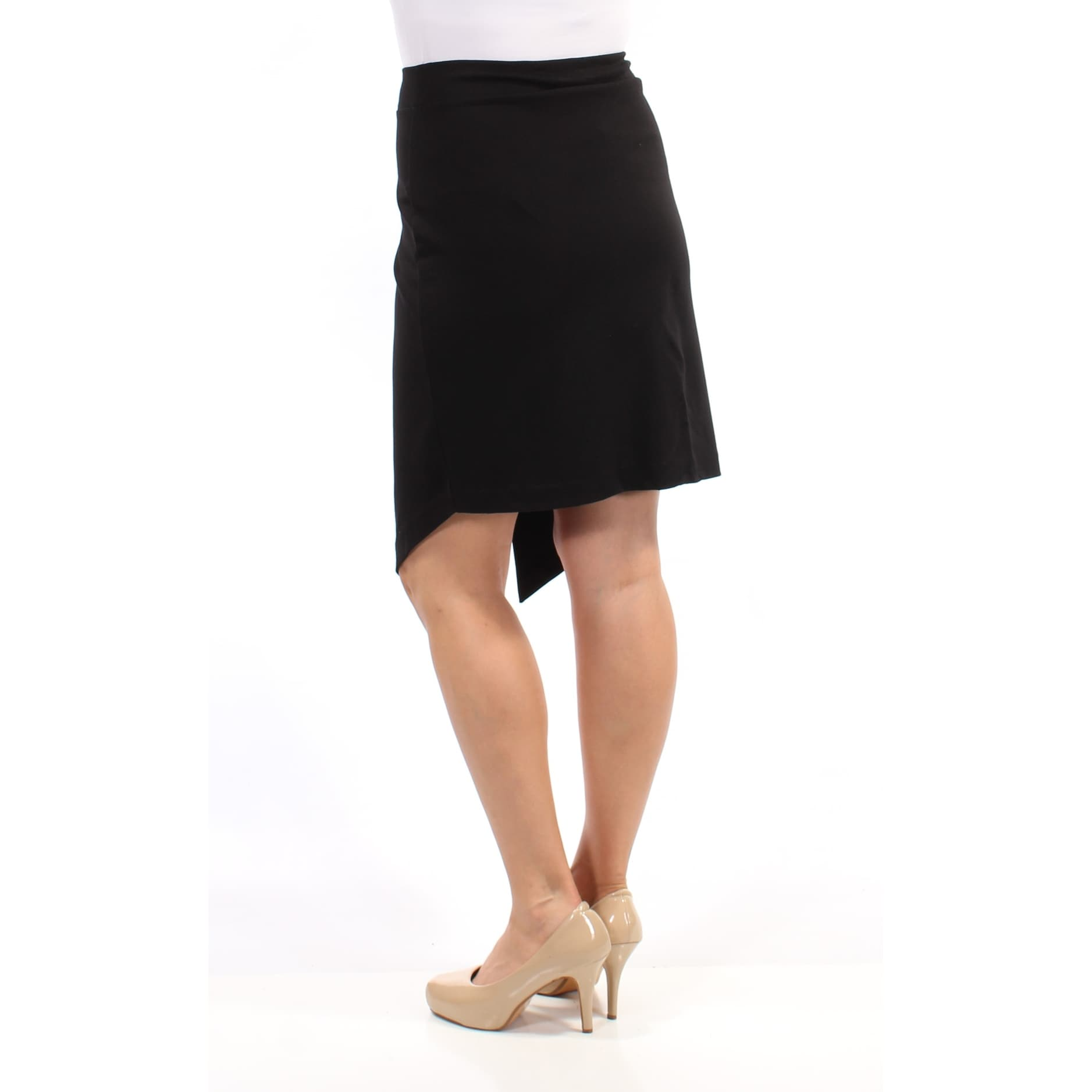 ee5d004e175fd3 Shop KENSIE Womens Black Envelope-hem Ponte Below The Knee Pencil Wear To Work  Skirt Size: L - On Sale - Free Shipping On Orders Over $45 - Overstock - ...