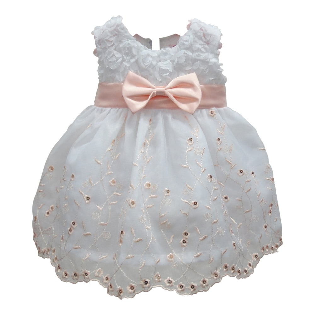 Baby Girls Peach White Floral Embroidery Soutache Flower Girl Dress