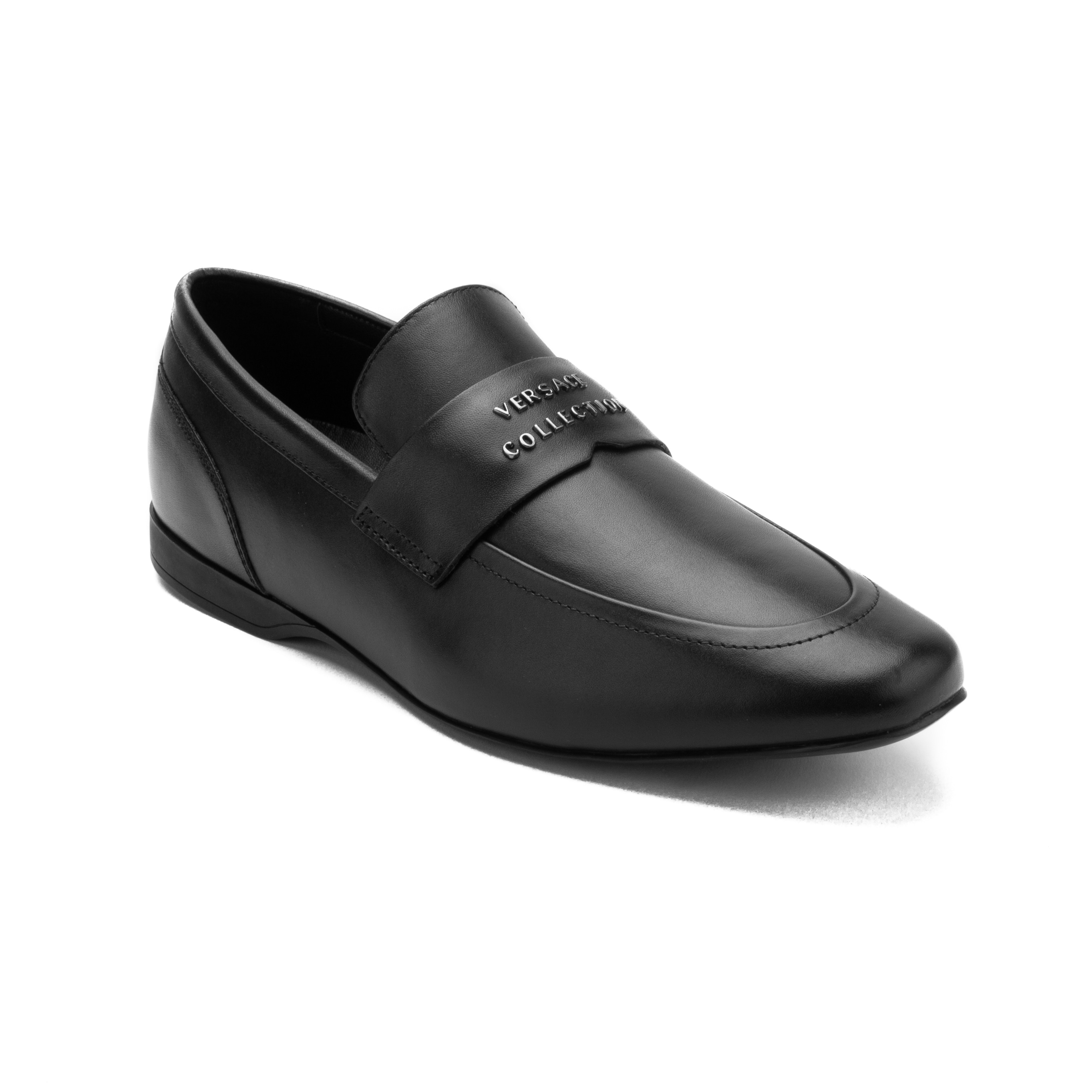 e5b5d542bfd Shop Versace Collection Men s Leather Penny Loafer Dress Shoes Black ...