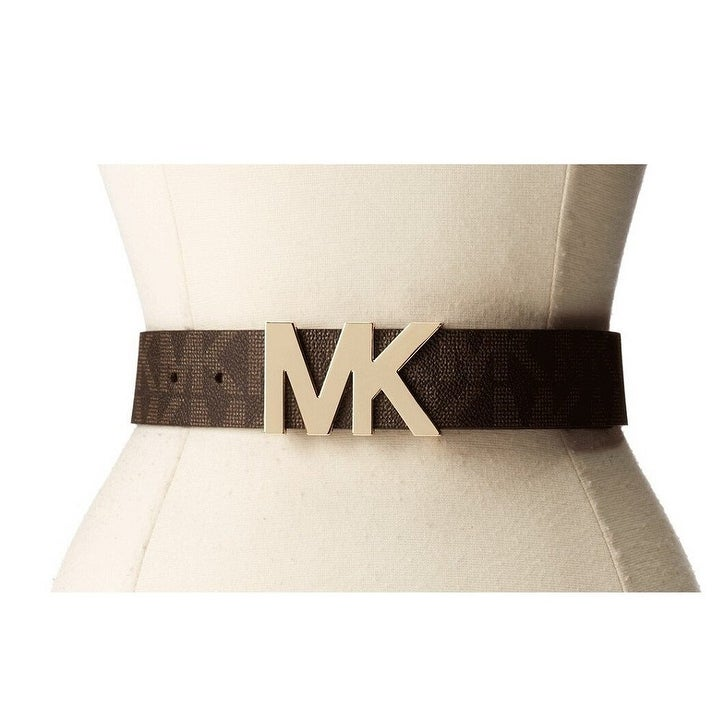 8a74f8af4c174e ... clearance shop michael kors signature belt with mk logo plaque brown  553376c free shipping on orders
