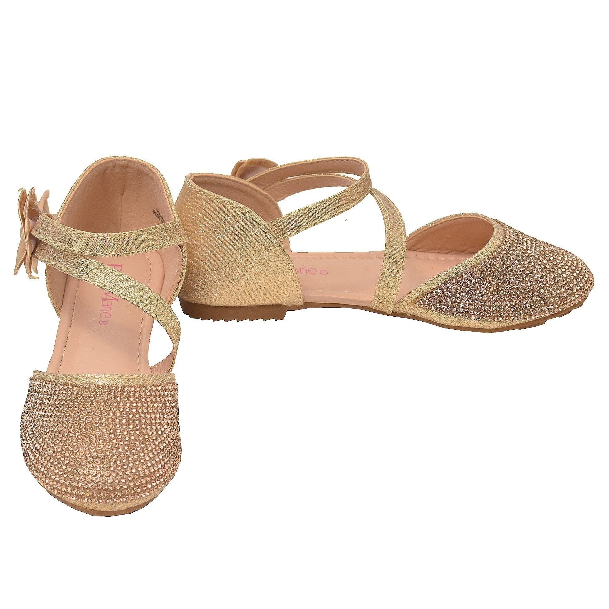9027e2cb1e47 Shop Bella Marie Girls Rose Gold Glitter Diagonal Ankle Strap Flats - Free  Shipping On Orders Over  45 - Overstock - 25600255