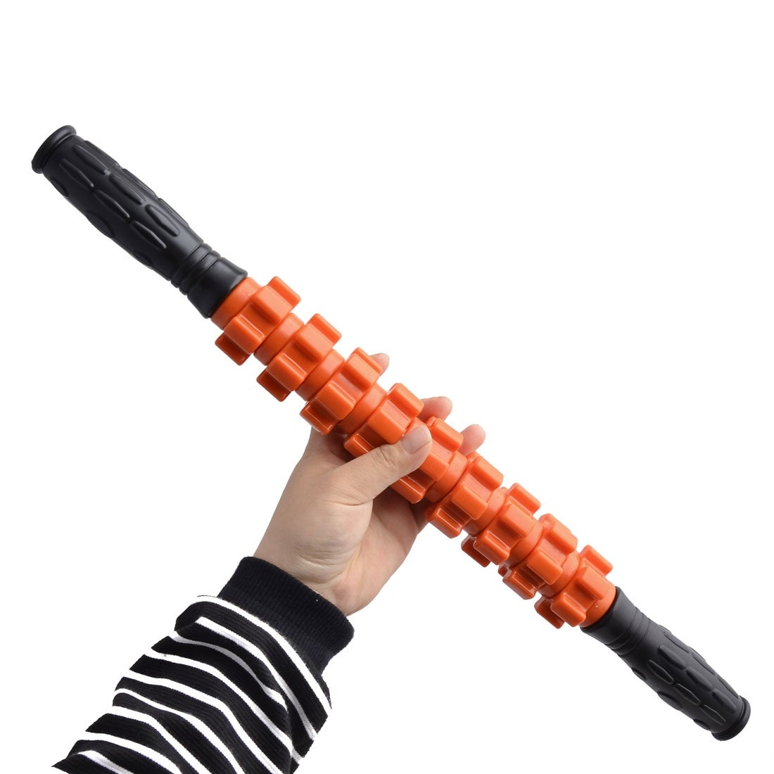 Plastic 9 Wheel Design Muscle Relaxing Roller Body Massage Stick Orange