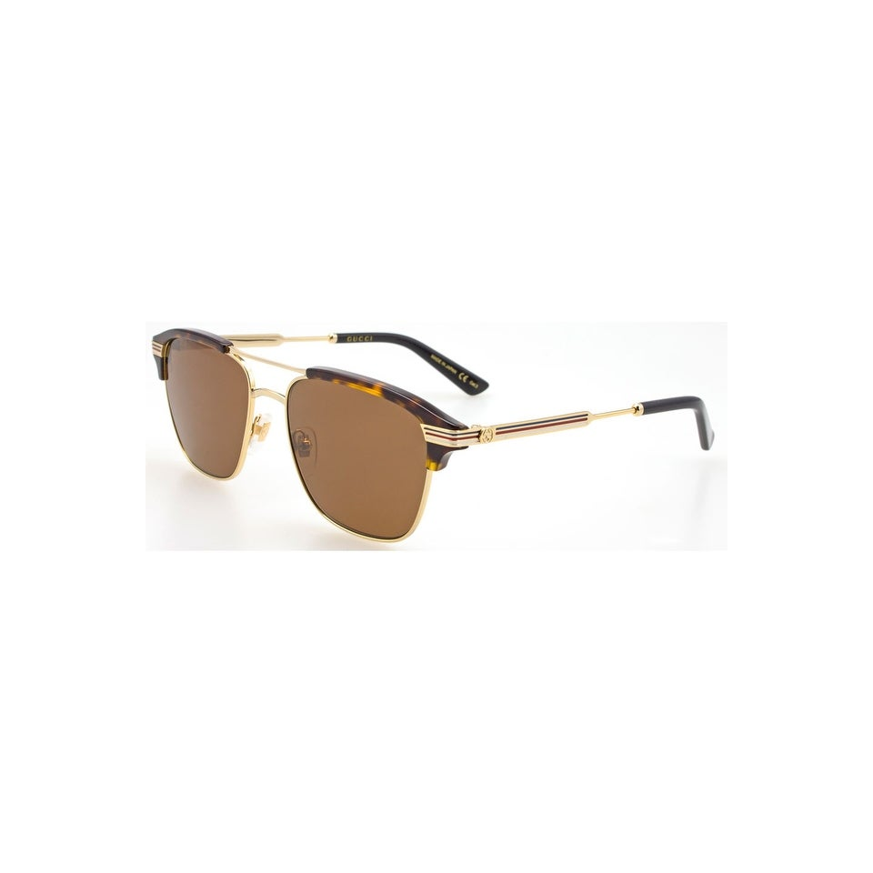bdd109a5070 Gucci Brown Square Sunglasses Gg0241S 003 54 - GOLD-GOLD-BROWN - One Size