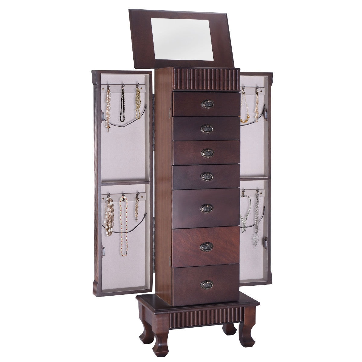 cabinets standing box wood jewelry furniture chest cabinet organizer new storage armoire necklace