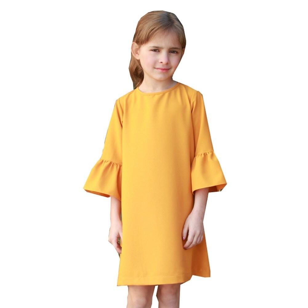 c3682ef193131 Shop A.Bird Girls Mustard Flat Flared Cuff Long Sleeve Chloe Dress - Free  Shipping Today - Overstock - 18174706