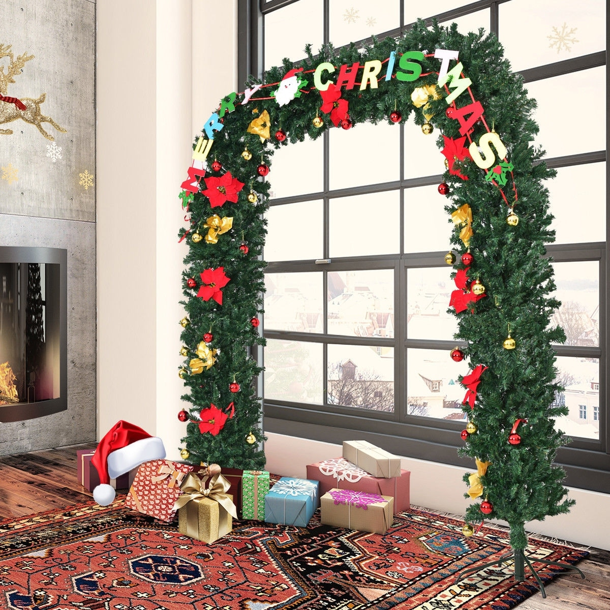 Shop Costway 7.5'X6.7' Pre-Lit Artificial Arched Christmas Tree Archway Decoration w/ Lights - Green - Ships To Canada - Overstock - 18513363